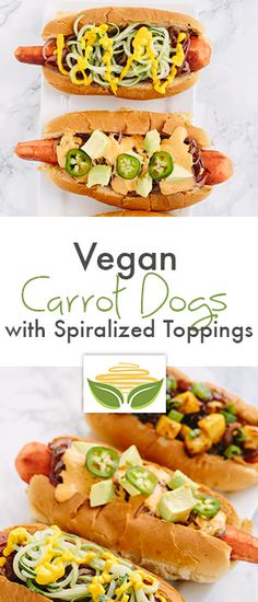 Vegan Carrot Dogs with Spiralized Toppings (Four Ways!)