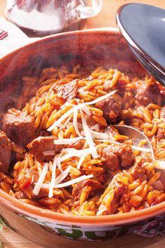 Κριθαρακι με αρνι η κοτοπουλο Lamb, Meal Planning, Chili, Curry, Soup, Sweets, Snacks, Cooking