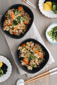 This Instant Pot Takikomi Gohan is Japanese mixed rice with chicken and vegetable pressure cooked in a savory dashi broth. It's a great weeknight meal! One Pot Rice Meals, Healthy One Pot Meals, Quick Weeknight Meals, Healthy Dinner Recipes, Gourmet Recipes, Easy Meals, Cooking Recipes, Potluck Recipes, Cooking Videos