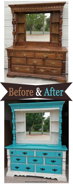 Turquoise dresser with mirror hutch, in turquoise and off white, with black glaze. Diy Dresser Makeover, Bedroom Furniture Makeover, Painted Bedroom Furniture, Colorful Furniture, Repurposed Furniture, Diy Furniture, Kitchen Furniture, Dresser Furniture, Furniture Cleaning