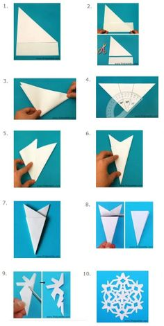 ▷ ideas and instructions for crafting with children . Paper Snowflake Template, Snowflake Craft, Paper Snowflakes, Snowflake Pattern, Christmas Snowflakes, Christmas Crafts, Xmas, Paper Crafts Origami, Diy Paper