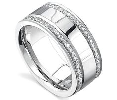 This men's diamond wedding band is luxurious and captivating with 2-rows of shinning diamonds. This is a great ring to have forever. www.novori.com/...