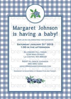 Gingham Blueberry Birthday/ Bridal/Baby Shower by brenabeedesigns, $11.50