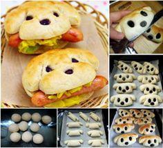 Hot Dogs - heiße Hunde. Wortwörtlich! Diese lustige Hot Dog Brötchen bringen den ein oder anderen zum Schmunzeln