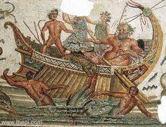 "DIONYSOS & THE TYRRHENIAN PIRATES    Museum Collection: Bardo Museum, Tunis, Tunisia   Catalogue Number: TBA  Type: Mosaic  Context: ""The Oceanus or Neptune Mosaic,"" Utica   Date: --   Period: Late Roman"