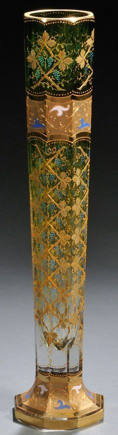 Bohemian Glass; Moser Type, Vase, Octagonal, Foliage & Berries, Green & Gilt, 20 inch. Czechoslovakia, c. 1801 -1900.