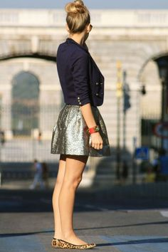 metallic skirt, leopard flats, cropped blue blazer