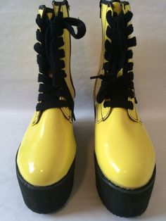 YRU Bloq Black and Yellow Platform Ankle Style Boots Punk Size 8 5 Rave Punk | eBay Club Shoes, Black N Yellow, Cleats, Combat Boots, Rave, Platform, Punk, Ankle, Best Deals