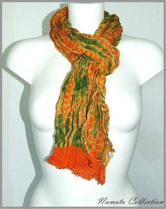 Foulard chèche femme orange et vert, collection fantaisie lumineuse à petit prix.