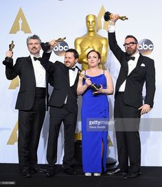 Visual effects artists Mark Williams Ardington, Paul Norris, Sara Bennett and Andrew Whitehurst, winners of the Best Visual Effects award for 'Ex Machina,' pose in the press room during the 88th Annual Academy Awards at Loews Hollywood Hotel on February 28, 2016 in Hollywood, California.