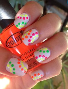 White nails, neon patterned polka dots free hand easy nail art