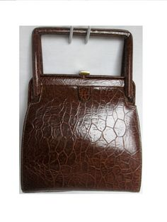 Unique Vintage SAKS Fifth Ave Hardshell Genuine Croc Embossed leather  handbag Mahogany Brown 37b0d96df20f8