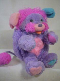 "Mattel Vintage Popple Purple Red Plush Soft Stuffed Furry Toy 7"" Popples Poples  #MattelPopples"
