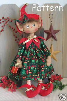 PATTERN Primitive Raggedy Elf Cloth Doll #25 Holiday Folk Art Christmas Sewing