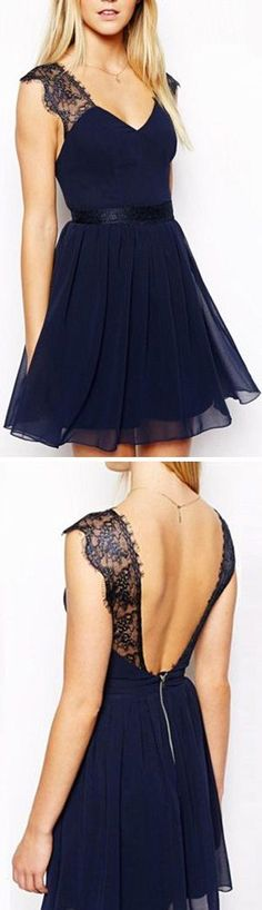 Cute Dresses, open back dresses, lace shouder, mini prom dresses, short homecoming dresses, charming prom dresses