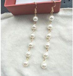 aac7ad17aa6988 Fashion Bohemian OL temperament retro imitation pearl long section tassel female  earrings jewelry