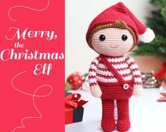 Christmas Elf amigurumi crochet pattern. Merry the di Tremendu