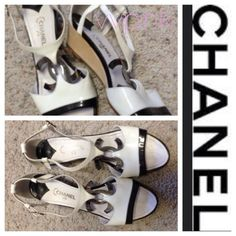 Chanel Logo Sandals  Absolutely stunning white Chanel logo wedge sandals. Show off your summer toes in style! CHANEL Shoes Sandals