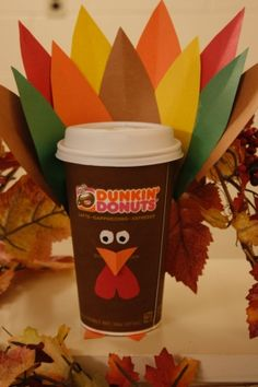 DIY Thanksgiving Turkey Latte cup! Enjoy a Dunkin' Latte & make this at home! Click on pin for instructions.