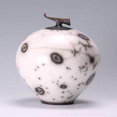 Burnished black/white lidded curling piece   Our Artists   Online Ceramics