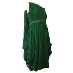 1960s Saks Fifth Avenue Emerald Silk Chiffon Cocktail Dress w/ Draped Back | From a collection of rare vintage evening dresses at https://www.1stdibs.com/fashion/clothing/evening-dresses/