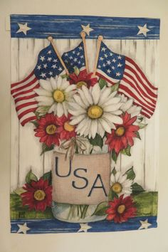Fourth Of July, 4th Of July Wreath, Mason Jar Garden, Red And White Flowers, Small Mason Jars, 4th Of July Decorations, Flag Stand, Flag Decor, House Flags