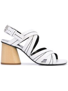 $337.0. PROENZA SCHOULER Sandal Proenza Schouler Strappy Block Heel Sandals - White #proenzaschouler #sandal #chunkyheel #leather #shoes Strappy Block Heel Sandals, Proenza Schouler, Chunky Heels, Wardrobe Staples, Heeled Mules, Ankle Strap, Women Wear, Leather Shoes, Products