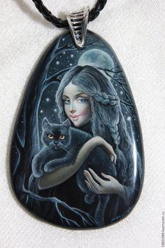 Купить В чувственной тишине... - черная кошка, лаковая миниатюра, живопись маслом, роспись по камню