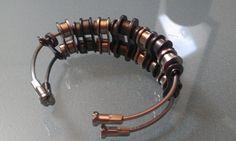 Double Bike Chain and Spoke Bangle Bracelet by BeachBMXDesigns