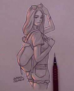 Ray Ban - Day # 292 by AngelGanev - - # drawings Girl Drawing Sketches, Girly Drawings, Art Drawings Sketches Simple, Amazing Drawings, Pencil Art Drawings, Beautiful Drawings, Sketches Of Girls, Art Du Croquis, Art Sketchbook