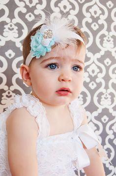 Baby Headband Shabby Chic  Headband Baby bow, feather headband, newborn headband, toddler headband, aqua. $8.95, via Etsy.
