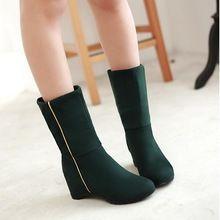 Zapatos de las cuñas de otoño invierno las mujeres de moda tacones altos botines Aumento de la Altura botas de goma zapatos de mujer casuales HH307 mación(China (Mainland))
