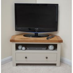 Swainswick Stone Grey Oak Corner TV Stand / Entertainment Unit