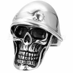 Men Gothic Biker Polish Stainless Steel Helmet Skull Ring #7-#12 Halloween Gift #Unbranded #Band