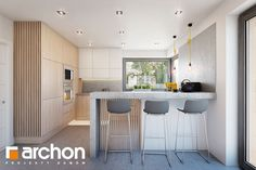 Dom w amorfach Kitchen Room Design, Modern Kitchen Design, Study Table Designs, Kitchen Rules, Penthouse Apartment, White Kitchen Cabinets, Apartment Design, Decoration, New Homes