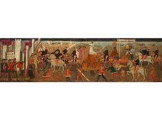 LÄNGSRECHTECKIGES TAFELBILD Öl/ Tempera auf Holz. 44 x 158 cm. Möglicherweise Front einer Truhe oder Teil einer Wandfriesausstattung. Teilvergoldung im...