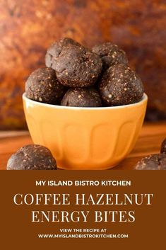 These no-bake Coffee Hazelnut Energy Bites prove there is more than one way to enjoy coffee! Super great treat for when the energy wanes. Coconut Peanut Butter, Toasted Coconut, Baking Recipes, Dessert Recipes, Hemp Protein Powder, Bistro Kitchen, Bulk Food, Mouth Watering Food, Energy Bites