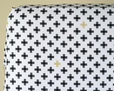Black Gold Cross Fitted Crib Sheet, Changing Pad Cover, Plus Sign Baby Bedding, Black and White and Gold, Gender Neutral Nursery Bedding by DelvaBTree on Etsy https://www.etsy.com/listing/247952749/black-gold-cross-fitted-crib-sheet