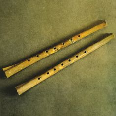 "called the ""twelve Lus,"" which date back more than 8000 years, predating even Chinese characters. These ancestors of the Chinese dizi have five to eight holes, capable of producing varied sounds in a near-accurate octave.  Legend has it that the China's first emperor, Huangdi, asked a shaman named Lun to develop a system of sounds with high and low-pitches. Inspired by the songs of male and female phoenixes, Lun used bamboo pipes to form China's first system of music—the Lu. Low Pitch, Chinese Characters, Cool Pins, Ancient China, Chinese Antiques, Performing Arts, Emperor, Pipes, Bamboo"