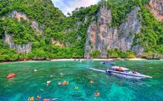 Experience the barefoot lifestyle and tropical landscape of the Phi Phi Islands in the Andaman Sea on a full-day tour from Krabi. Swim with colorful fish at Lohsamah and Monkey Bay, snorkel among coral gardens and laze on white sand beaches at Maya Bay.