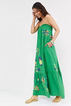 Ruffled Floral Maxi Dress | Anthropologie Maxi Dress With Sleeves, Floral Maxi Dress, Neon Dresses, Stripped Dress, Types Of Dresses, Buy Dress, Swing Dress, Flare Dress, Strapless Dress