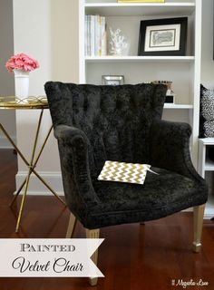 How to paint fabric and things to avoid when you do.  This thrift store velvet chair got a coat of black paint (with gold legs) as part of a DIY glam living room update.