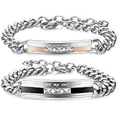 Jstyle Stainless Steel Bracelets for Men Women Couples Bracelets Set CZ Curb Chain Link Adjustable 7-9 Inch Valentines Day Gift