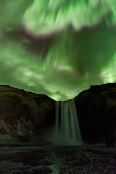 ♥♥ Aurora and waterfall for MY SCINTILLATING Wife! ♥♥Skogafoss