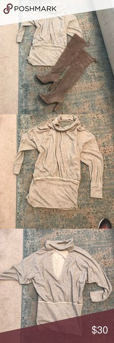 Free People sweatshirt dress. Sz. M Versatile sweatshirt dress that can also be worn as a top over some leggings and thigh high boots! Had an open back with batwing sleeves. Free People Dresses Mini