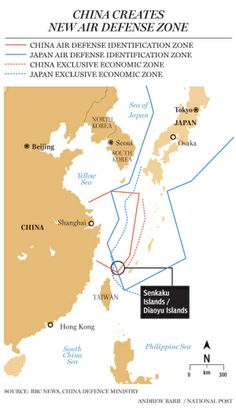 Map showing conflicting air defense zones (China, Japan).
