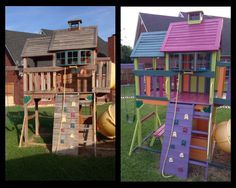 Playset Makeover using Sherwin Williams oil base primer and paint!