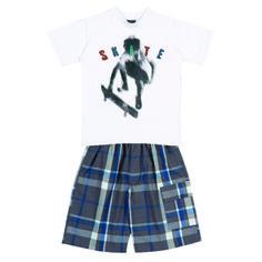 "Conj. Camiseta ½ Malha-Bermuda Xadrez c/Bolso Lateral Bordado ""SKATE"" Tamanhos: 04 ao 12"