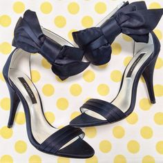 ee9343612ab Ann Taylor navy Jackie bow sandals