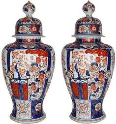 A Pair of 19th Century Imari Porcelain Covered Jars